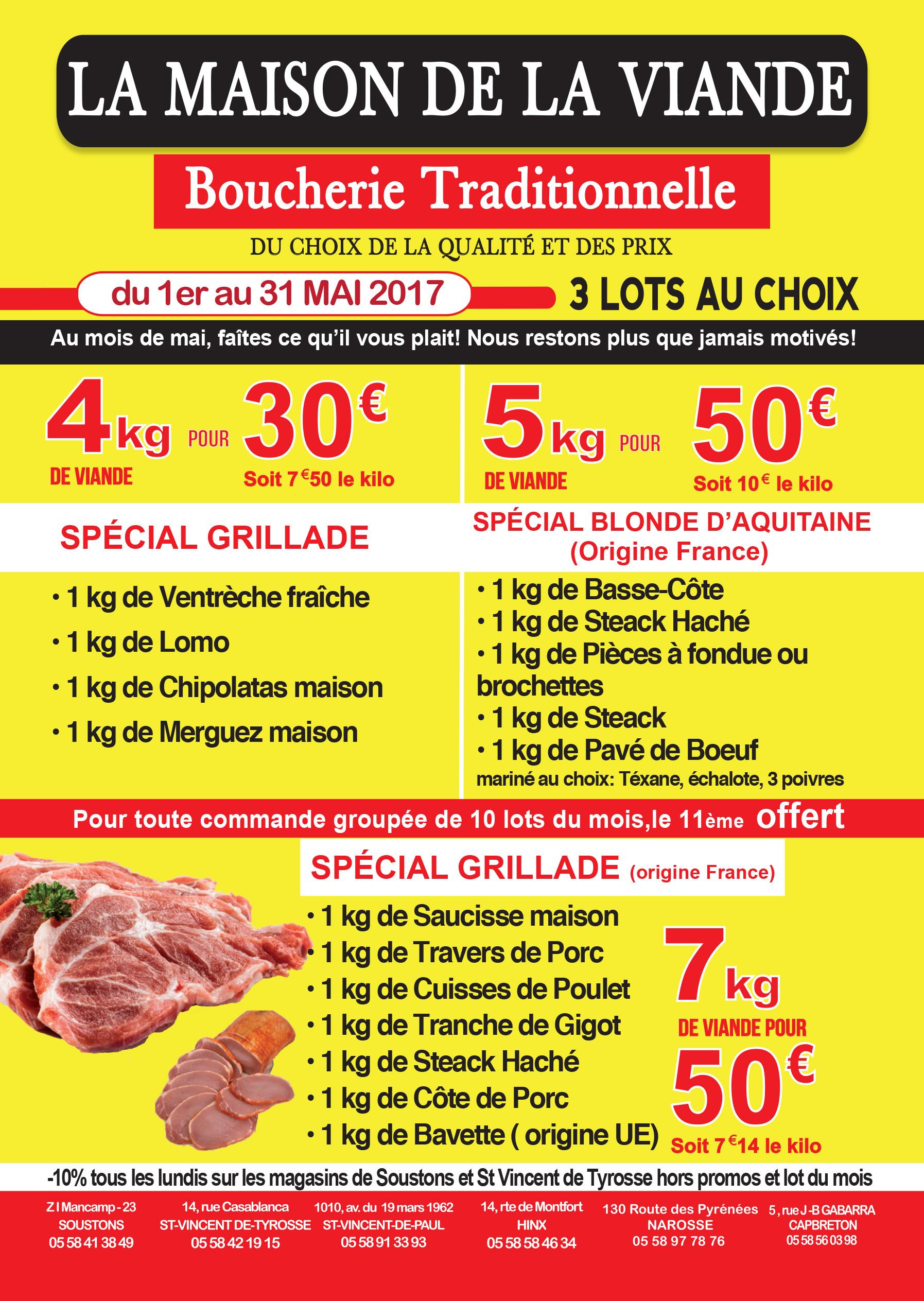 boucher soustons vente bœuf porc volaille boucherie de la maison de la viande